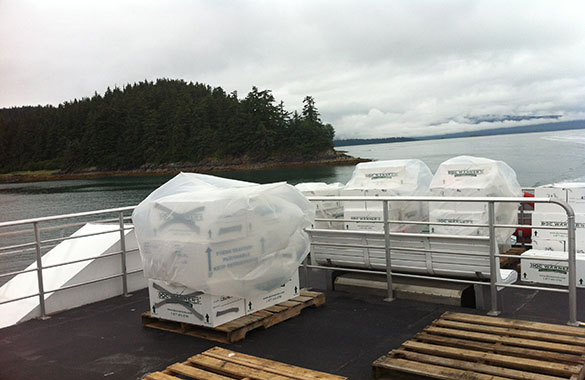 Frozen Fish Transported to Juneau Airport