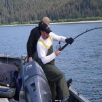 Catching a Fish at Doc Warner's Lodge in Alaska