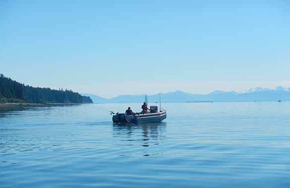 Driving a boat in Juneau, Alaska