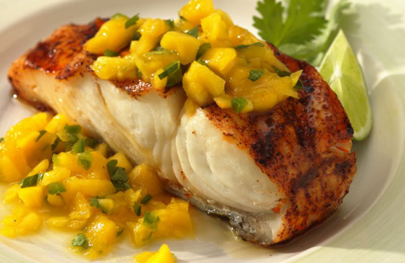 Grilled Halibut with Mango Relish