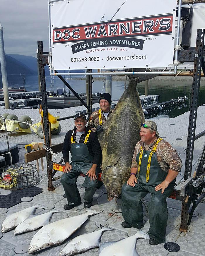 200 pound halibut caught at Doc Warner's